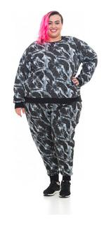 Blusa Moletom Plus Size Camuflada Wonder Size