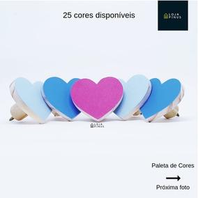 5 Gancho De Parede Colorido De Madeira Coração