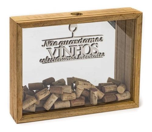 Caixa Porta Rolhas 40x7x30,5 Espelhada Pinus Luxo