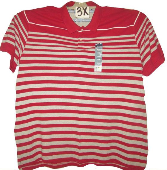 Camiseta Franjas Rojo Y Gris Tipo Polo Talla 3x Basic Editio