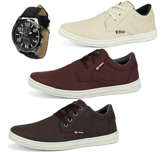 Kit 3 Pares Sapato Masculino Casual Tênis Sw Shoes + Relógio