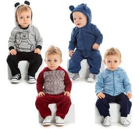 Kit 4 Conjuntos Bebê Menino Inverno Calça E Blusa Roupa Frio