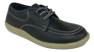 Zapato Colegial Croydon Negro Azul Niño Niña Uniforme Cuero