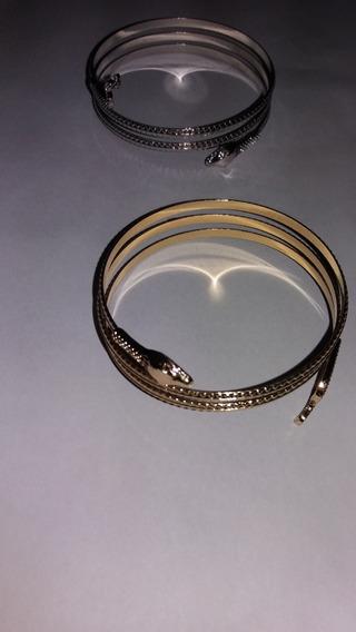 Bracelete Pulseira Serpente Dourada E Prata + Brinde