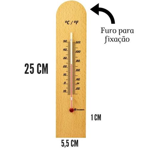 Termômetro De Madeira Clássico -10 A 50°c Incoterm