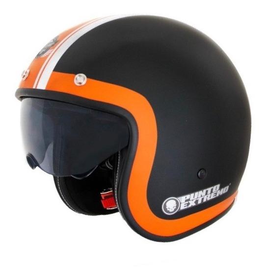 Casco Moto Abierto Con Visor X581 Linea Naranja Punto Extremo
