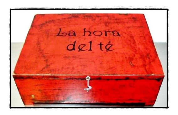 Caja De Té 6 Divisiones Madera Vintage Hogar Cocina Bazar