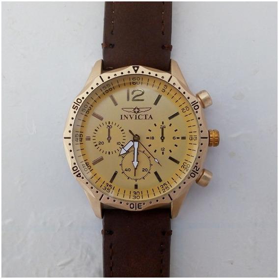 Relógio Masculino Dourado Barato Pulseira De Couro + Caixinha 12x Sem Juros