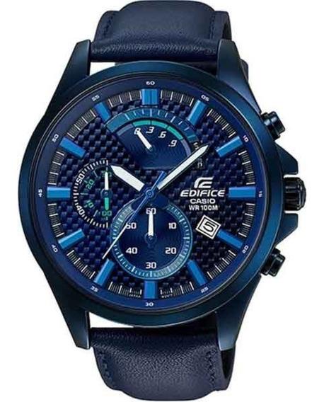 Relógio Casio Masculino Edifice Efv-530bl-2avudf Couro Azul