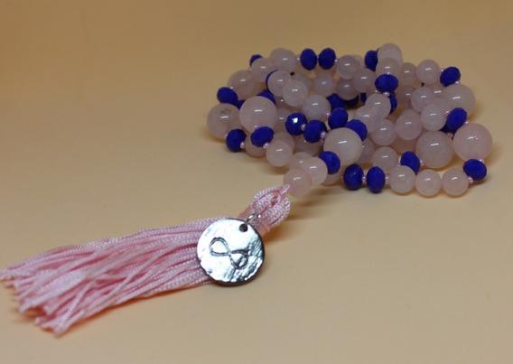 Japamala 108 Contas 8mm Quartzo Rosa Cristal Azul