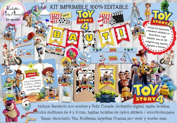 Kit Imprimible Candy Bar Toy Story 4 Nubes 100% Editable