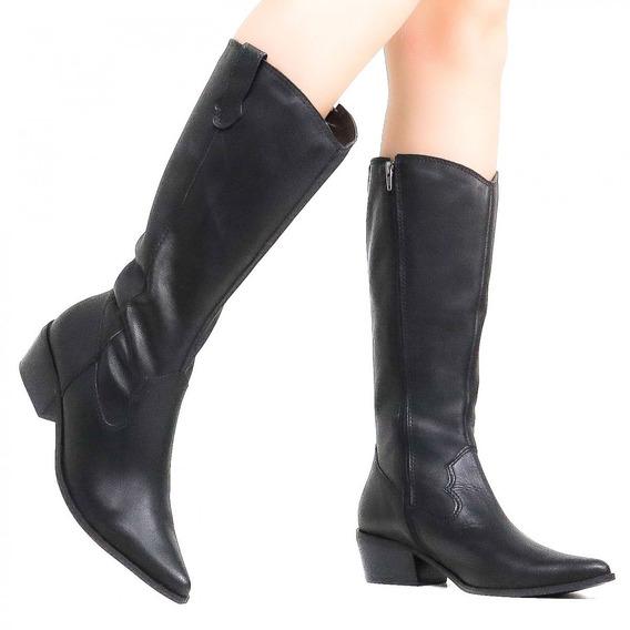 Bota Feminina Zariff Shoes Montaria Couro Preto 1370614