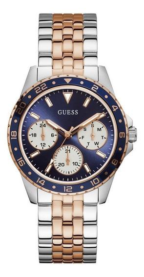 Relógio Guess Masculino Aço Prata/azul Original 92717lpgsga2