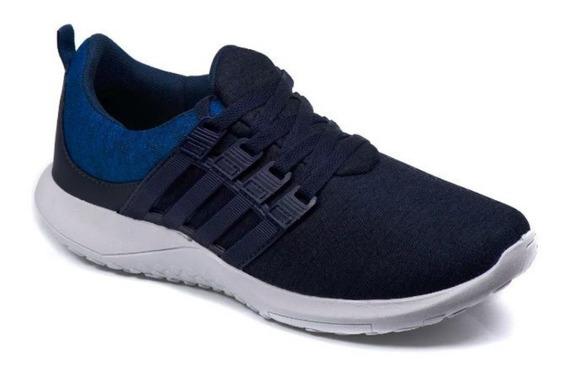 Tenis Masculino Caminhada Super Leve E Confortável Azul