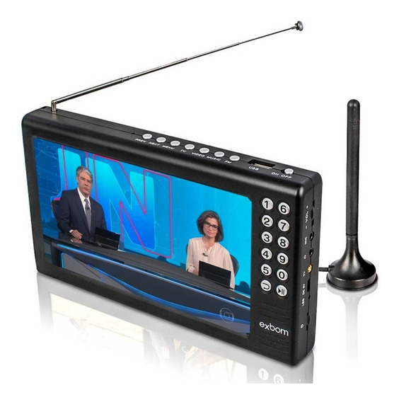 Tv Portátil Digital Tela 7 Hd Bateria Sd Av Usb Fm Mp3 Vídeo