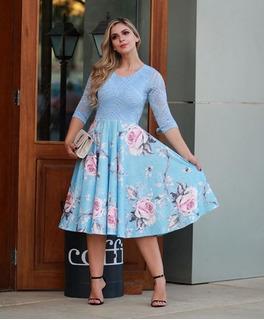 Vestido Feminino Midi Renda Boneca Princesa Rodado Moda Evangélica