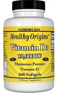 Vitamina D3 10.000iu Healthy Origins 360 Cápsulas Original