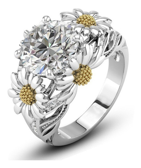 Anillo De Diamantes De Girasol De Moda Europea Y Americana