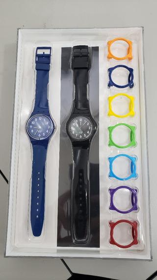 Coleção Relógio Swatch Gn230 / Gb247 + Aros Coloridos