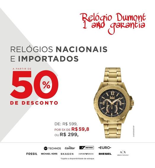 Relógio Dumont Dourado Fundo Preto