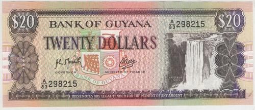 Billete Guyana 20 Dolares 1966-89 Pick 27 S/c