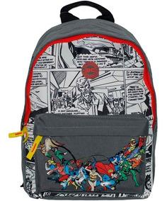 Mochila Escolar Liga Da Justiça Dc Comics Costas G Cinza