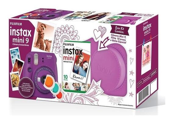 Kit Câmera Instantânea Fujifilm Instax Mini 9 Roxo Açaí