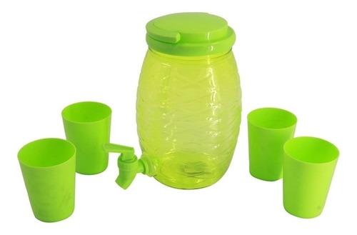 Imagen 1 de 5 de Dispensador De Líquidos, De Plástico, 2l, Con Canilla, Con 4