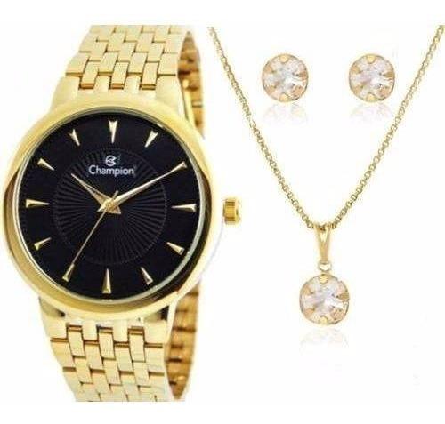 Relógio Champion Feminino Cn20515k + Colar E Brincos