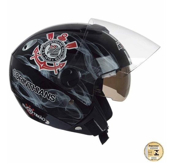 Capacete Masculino Moto Aberto Corinthians Pro Tork Preto
