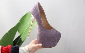 Sapato Glitter Peep Toe Plataforma Importado