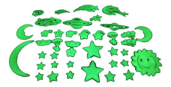 Kit 40 Estrelas Planetas Céu Que Brilham No Escuro Plástico
