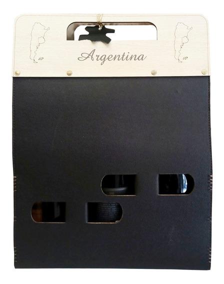 Set Estuche Porta Vino Para Tres Botellas Personalizados