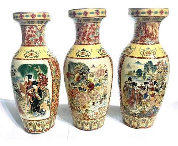 Antiguo Jarron Oriental Chino Pintado A Mano Pack X 3