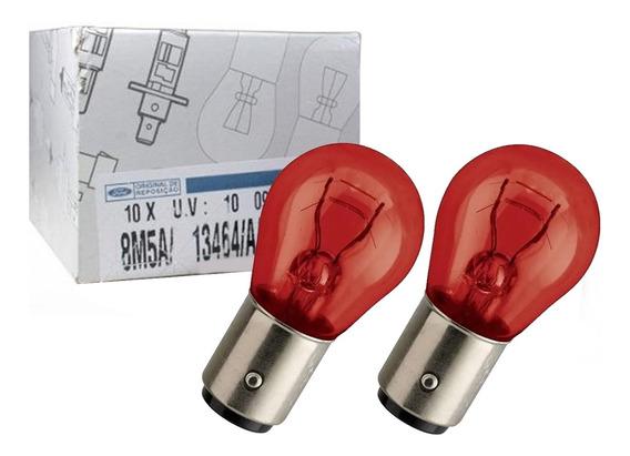 2 Lampadas 2 Polos Vermelha 21/5w Original Ford 8m5a/13464/a