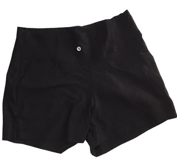 Shorts Feminino De Sarja Com Lycra Cintura Alta 719c