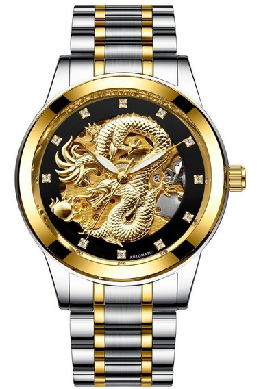 H666 Pulseira De Aço Inoxidável Universal Mens Ouro Dragon H