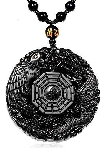 Collar Colgante De Obsidiana Negro Precioso De Lujo Collares