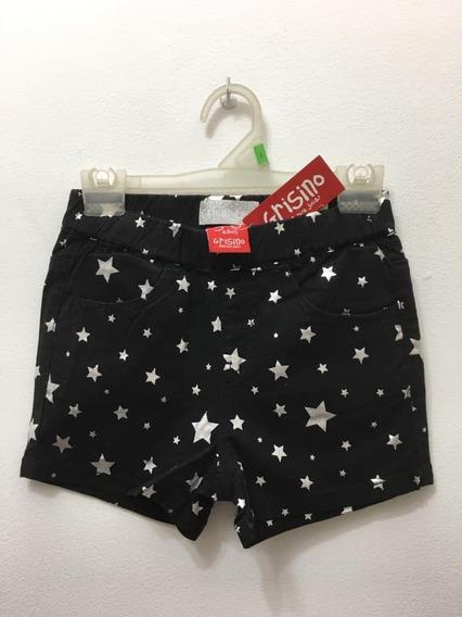 Short T 5/6 Años Negro Con Estrellas Grisino Nuevo