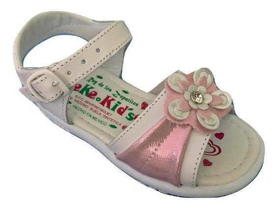 Huarache Infantil Niña Peke Kids 604 Piel Blanco