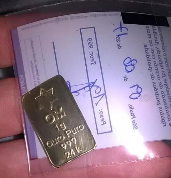 Barra De Ouro Puro 24k 1gr - Frete Grátis