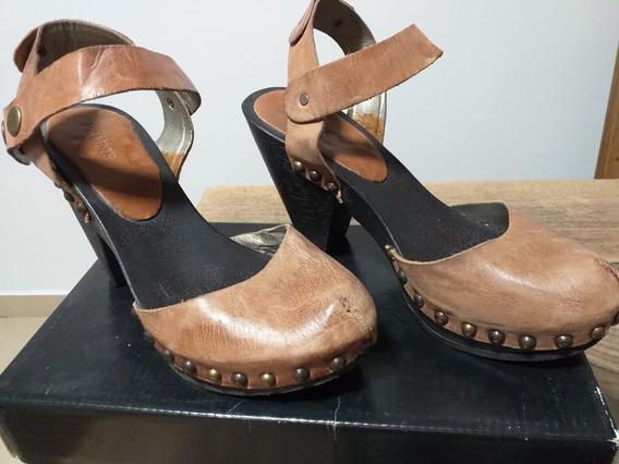 Zapatos Tipo Sandalia Prune Con Tacos - 35