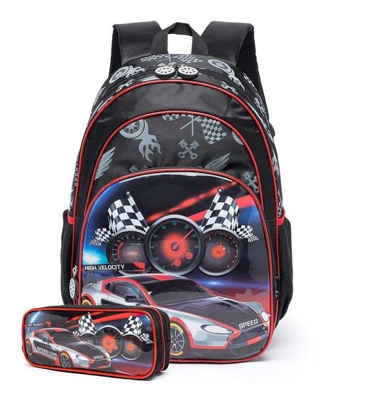 Mochila Spector Carros Escolar Infantil C/ Estojo Meninos