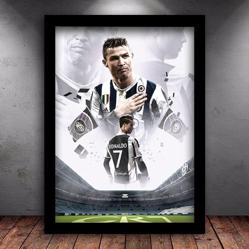 Quadro C/ Moldura Cr7 Cristiano Ronaldo Juventus 45x35cm