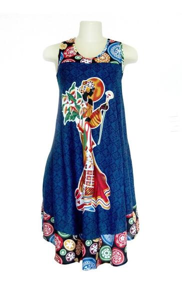 Vestido Indiano Balonê De Ponta Midi Estampa Africana