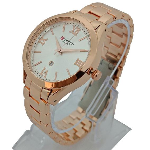 Relógio Feminino Rose Aço Inox Com Calendário Fundo Branco