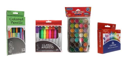 Combo Artistico Colores Marcadores Acuarela Creyones Cera