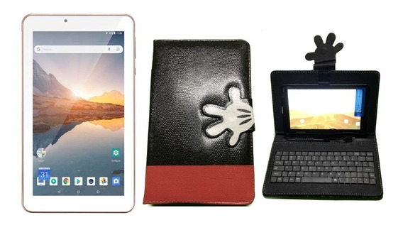 Tablet Rosa Com 16gb Android 8.1 Wifi + Capa Com Teclado