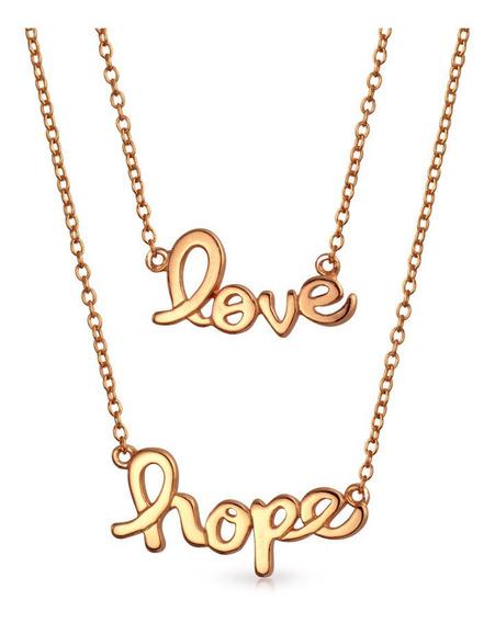 Definir De 2 Palavra Amar Esperança Pingentes Shinny Rose B