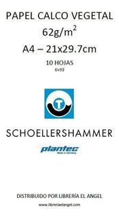 Papel Vegetal A4 Calco 60gr 10 Hoja Schoellershammer Plantec